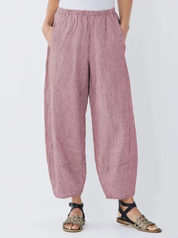 Striped Pockets Elastic Waist Pants