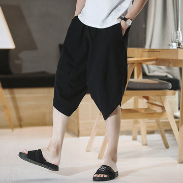 Men's Cotton And Linen 7 Cropped Trousers Casual Shorts Chinese Style Loose Large Size Harlan Breeches Linen Five Pants