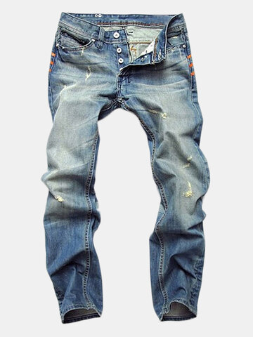 Jeans straight in denim lavato