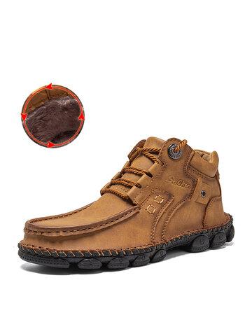 Salkin Men Hand Stitching Leather Boots