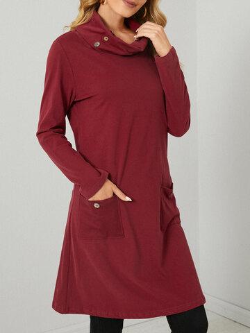 Einfarbiger Taschenknopf Lässig Kleid