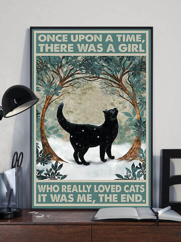Black Cat And Tree Pattern Canvas Painting Unframed Wall Art Canvas Living Room Home Decor