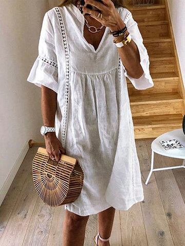 Lace Hollow Casual Dress