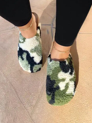 Camouflage Plush Slippers Comfy Home Shoes