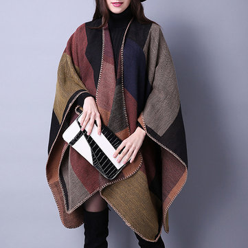 Women Plaid Artificial Cashmere Warm Scarves Shawl, Red
