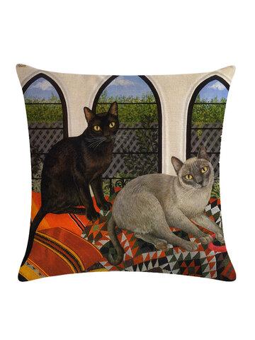 Animal Pattern Pillowcase Decorative Cat Pattern Pillowcase Sofa Chair Cover Pillowcase Home Decoration