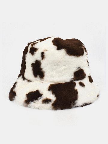 Women & Men Wool Soft Warm Casual Cute Cow Pattern Bucket Hat