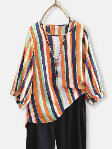 Vintage Striped Plus Size Blouse