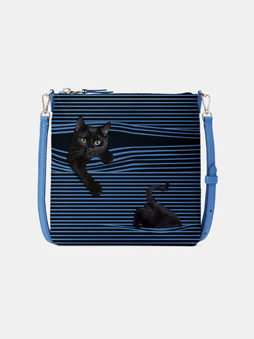 PU Leather Cat Striped 6.5 Inch Phone Bag Crossbody Bag