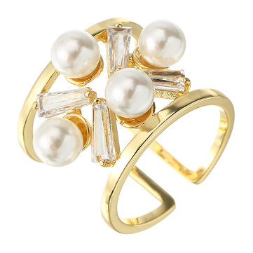 JASSY Fashion Zirconia Pearl Ring