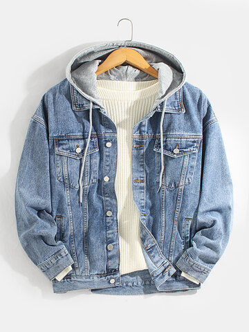 Cotton Detachable Hooded Denim Jacket