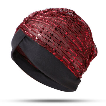 Thin Sequin Mesh Muslim Indian Beanie Hat