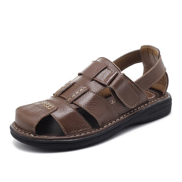 Men Genuiner Leather Hook Loop Closed Toe Sandals