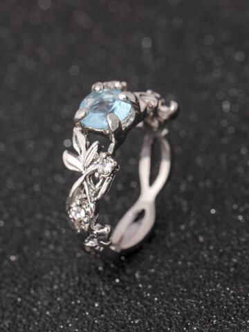 Elegant Blue Crystal Silver Rings