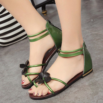 Floral Strappy Hollow Out Clip Toe Korean Style Flat Sandals Flip Flops фото