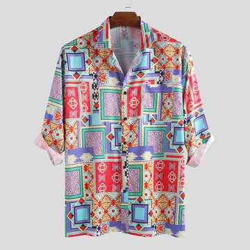 Mens Summer Funny Ethnic Printed Loose Shirts