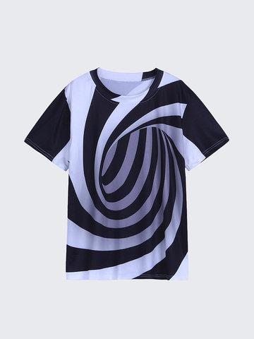 Camisa Masculina de 3d Redemoinho de Manga Curta
