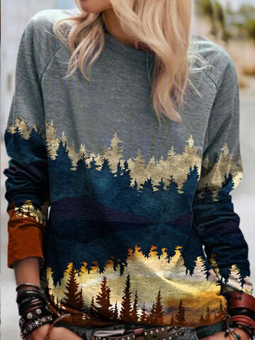 Landscape Print Casual O-neck Long Sleeve Cashmere T-Shirt