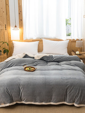 1 Pc Double-Sided Winter Thick Warmth Sofa Bedroom Gray Milk Fleece Blanket Flannel Double-Use Quilt Cover