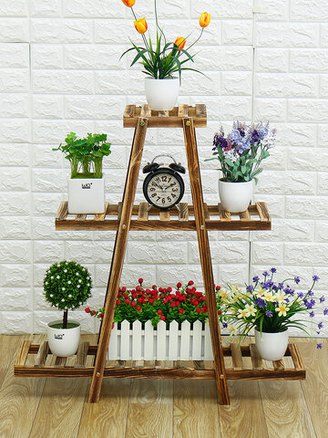 Wooden Flower Stand Plant Display Stand Shelf