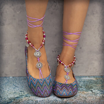 Beaded Exotic Style Flat Shoes