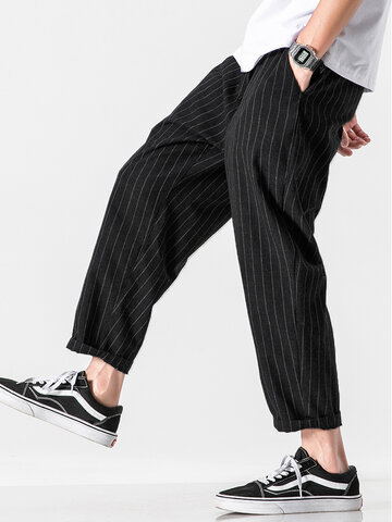 100% Cotton Striped Casual Pants
