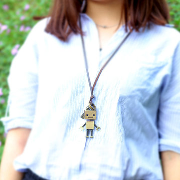 Cute Leather Robot Necklace