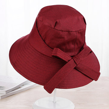 Cotton Solid Bow Bucket Hats