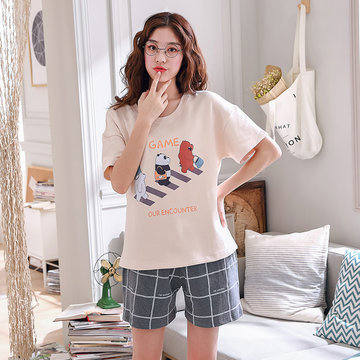 short-sleeved shorts cotton pajamas suit