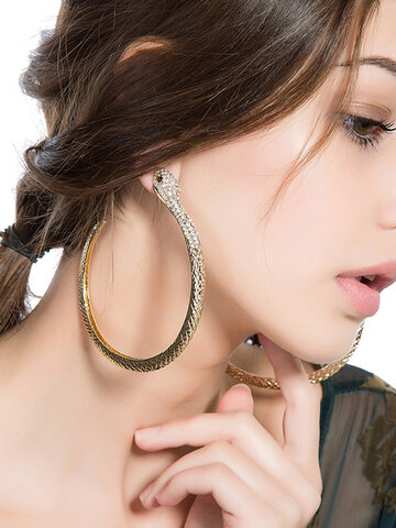 Exaggerated Gold Snake Hoop Earring