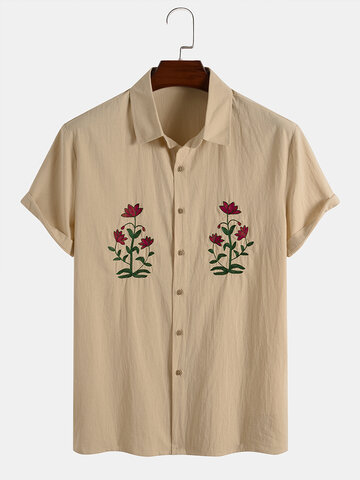 Cotton Flower Embroidery Shirts