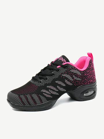 Chaussures de danse à lacets en maille douce