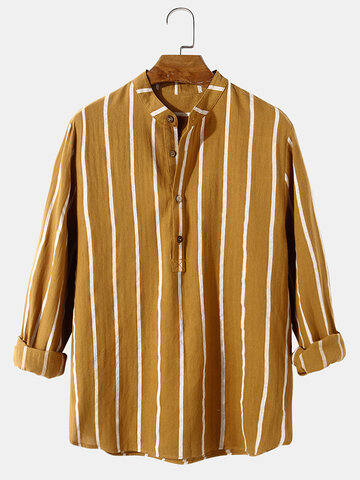 100% Cotton Striped Henley Shirts