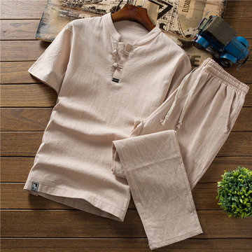 men's linen short-sleeved suit cotton and linen lay clothing casual Zen work tea service two-piece