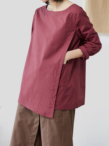 Casual Solid Color Blouse, Black wine red coffee army green