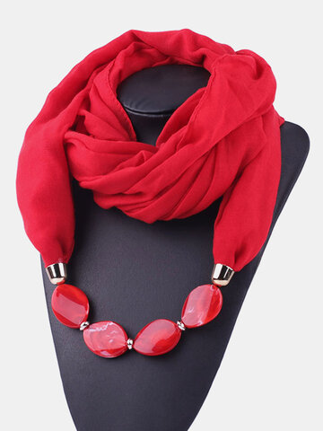 Beaded Pendant Solid Scarf Necklace