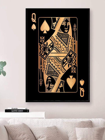 Poker Q Pattern Canvas Painting Unframed Wall Art Canvas Living Room Home Decor