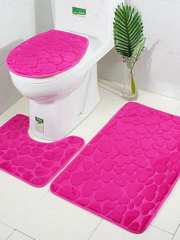 Toilet Floor Mat Three-piece Love Embossed Bathroom Mat 3-piece Set