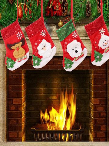 Nouvel an Vintage bas de Noël bonhomme de neige sac cadeau chaussette ornement chaussettes pour arbre de Noël