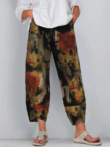 Graffiti Printed Casual Plus Size Pants