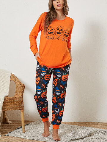 Women Halloween Pumpkin Ghost Pajamas Set
