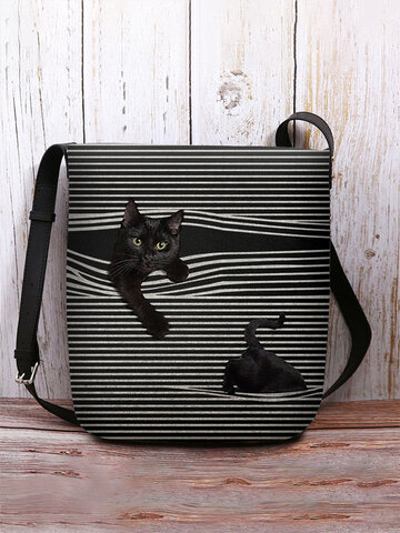 Felt Stripe Cat Print Crossbody Bag