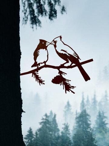 23-Types Metal Garden Tree Insert Decor Hummingbird Owl Simulation Animal Art Ornament