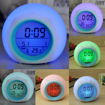 LED di colore digitale 7 che modifica il termometro orologio Nature Sound Alarm