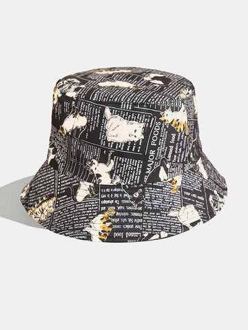 Women & Men Cats And Letter Painting Bucket Hat