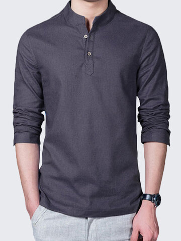 Mens Linen Solid Color Casual T-shirts