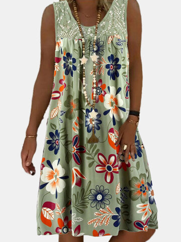 Flower Printed Lace Patchwork Dress