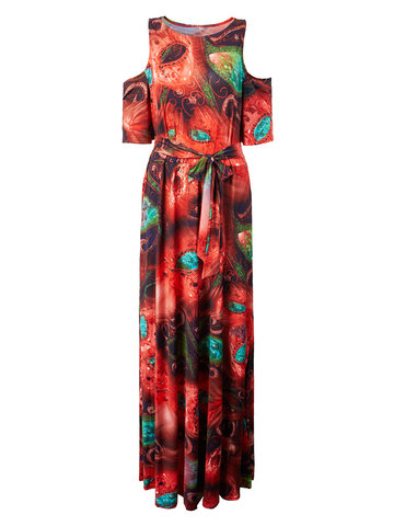 Plus Size Printed Off Shoulder Belt Beach Women Maxi Dress