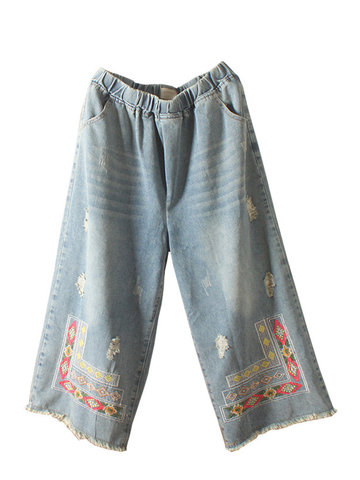 Bordado Vintage Perna Larga Denim