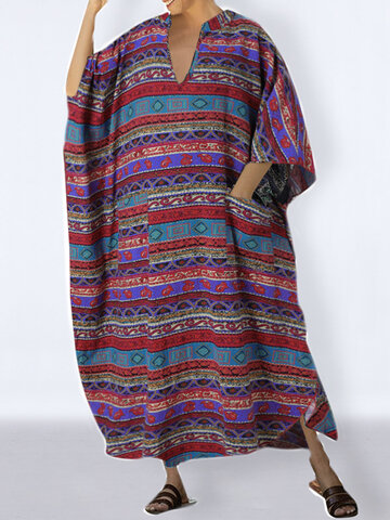 Vintage Printed Loose Cotton Dress
